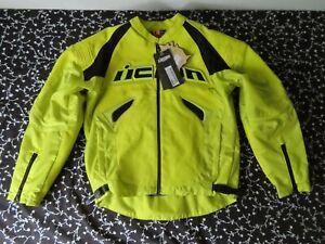 ICON SANCTUARY leather motorcycle jacket  HI-VIZ YELLOW L
