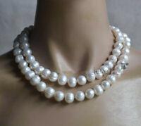 Echte züchtete 11-12mm weiße Süßwasserperlen 2 Reihen Halskette 17-18.5 zoll