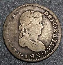 """1820 """"Z"""" AG ☆2 Reals ☆Mexico ☆Spanish Colonial Ferdin VII """" Pillar""""☆ Silver Coin"""
