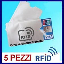5 CUSTODIA NO CLONAZIONE PROTEZIONE RFID CARTA CREDITO BANCOMAT SMAGNETIZZAZIONE