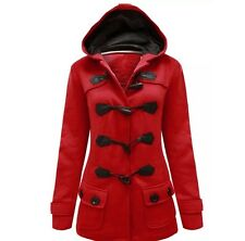 Womens Red Hooded Fleece Duffle Coat Size 12