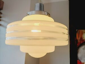 VTG Art Deco Ceiling Lamp Fixture Glass Chandelier Light Wow 1950' Streamline