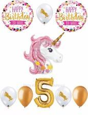 9 pc PINK & GOLD Unicorn 5th Birthday Balloon Set Pegasus FIFTH FREE SHIPPING