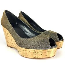 Womens Stuart Weitzman Anna Pyrite Wedge Silver Gold Sparkle Pumps Size 7.5 Shoe