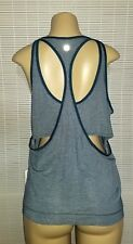 LULULEMON Run The Day Tank Silverescent Cut Out Blue Yoga Loose No-Bra Top sz 10