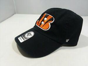 Cincinnati Bengals Black NFL '47 Brand CLEAN UP Adjustable Cap hat One Size