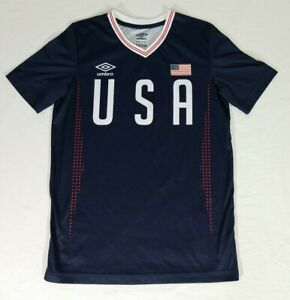 UMBRO USA Soccer Team Authentic Training Navy Blue Jersey T-Shirt Youth Size XL