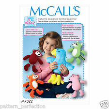 McCall's 7522 Paper Sewing Pattern to MAKE V Easy Woodland Animal Stuffed Toys
