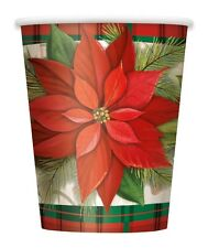 Pack of 8 Poinsettia Plaid Tartan Paper Cups - 270ml - Christmas Party Tableware