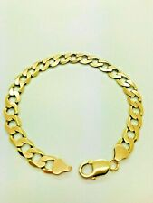 9ct Yellow Solid Gold Curb Bracelet - 9""