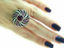 Turkish Ottoman 925 Sterling Silver Jewelry Authentic Ruby Ring Size 10 R2644