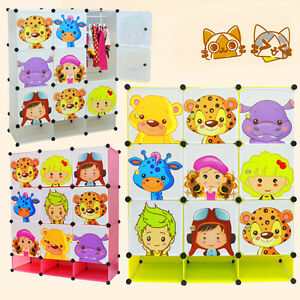 NEW Kids Wardrobe Childrens Storage Boxes Character Design 9 Cubes Shoes Storage