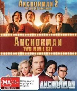 Anchorman 1 & 2 the Legend Of Ron Burgundy + Continues DVD R4 Will Ferrell