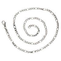 1X(Schmuck Halskette, Edelstahl, Figarokette, Halskette, Silber - Breite 3mm 6A