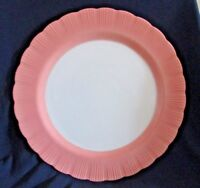 "Macbeth-Evans Cremax Bordette 12"" Chop Cake Plate Vintage  Pink & White"