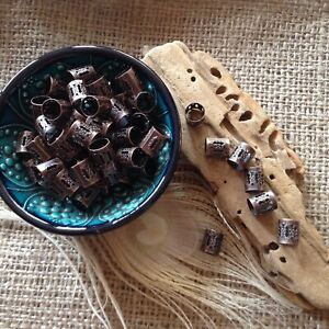 Dreadlock Beads 16x Copper Adjustable Hole Wrap Cuffs Dread Rings Beard Clips UK
