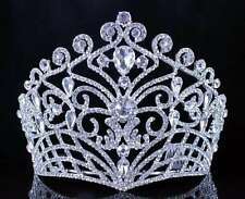 LUSH CLEAR AUSTRIAN CRYSTAL RHINESTONE TIARA CROWN BRIDAL PROM PAGEANT T11884