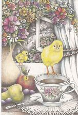 Rare tea party chicken cup flowers apple by Smirnova Russian modern postcard