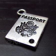 10PCs Passport Wholesale Silver Plated Charm Pendants - C6601