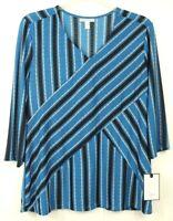 Dana Buchman Womens Size 2XL Blue Black Tan 3/4 Sleeve Stretch Blouse NWT