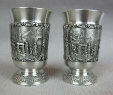 2 x superb SKS ZINN Pewter Shot Cups / GOBLETS / small BEAKERS. Germany. 6 cm