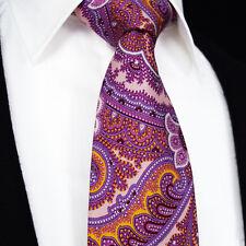 Mens Tie - Premium Fuschia Pink & Orange Red Paisley - Wedding Gift Necktie Sale