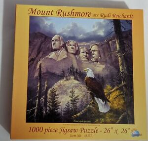"Mount Rushmore Puzzle By Rudi Reichardt 1000 piece 26"" x 26""  No. 45377"
