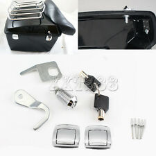 Chrome Tour Pak Premium Latches Hardware Lock & Key Kit For Harley 1997-2013