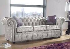 Chesterfield Luxury UK Handcaft 3 Seater Settee Shimmer Silver Velvet Sofa Couch