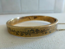 Antique Victorian gold filled black enamel child's bangle bracelet baby hinged