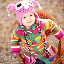 Melondipity Pink Brown Girl Crochet Owl Baby Hat Knit Animal Beanie Ears Braids
