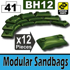 BH12-6 (W234) Army Modular Sandbags compatible with toy brick minifig Tank Green