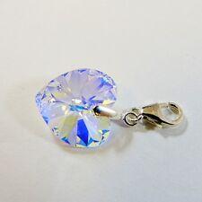 Sterling Silver Clip-On Bracelet Charm Swarovski Elements Crystal Heart Clear AB