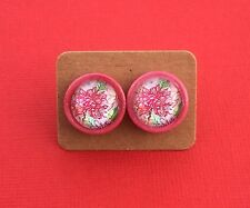 Pink Floral Handmade Button Glass Surgical Steel Stud Earrings - Aussie Seller!
