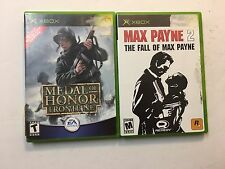 Medal Of Honor Frontline & Max Payne 2 Microsoft Xbox Shooting Video Games Lot