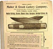 1898 Maher & Grosh Cutlery 80p Catalog Pocket Knife Razors Shears Antique Toledo