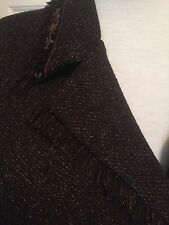 Plaza South BROWN TWEED PANTSUIT with FRINGE trim embroidery BEADS 18