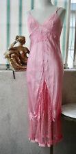 LA PERLA Silk Long SLIP Gown DRESS Soutache Embroidery Leavers Lace S/M PINK