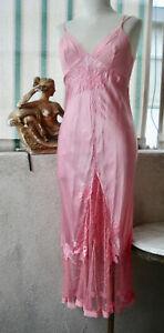 LA PERLA 100% SILK CHARMEUSE Soutache Embroidery Leavers Lace Gown DRESS Slip S