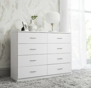 Large 8 Chest Of Drawers In White - Perfect For Bedroom