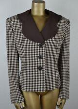 New listing Vintage L Retro 40's Style Gabardine Blazer Brown Cream Check Jacket