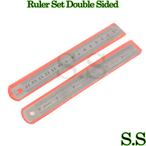 """Stainless Steel Pocket Measuring Ruler Set Double Sided SAE & Metric 6"""" 2 pc"""