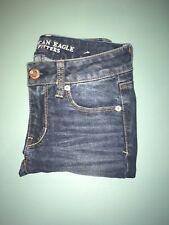 American Eagle Women's Denim Jeans Size 00 Short Skinny Stretch Dark Wash