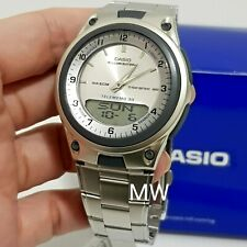 Casio Data Bank Analog Digital White Face Stainless Steel Watch AW-80 AW-80D-7A