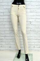 Pantalone JECKERSON Donna Taglia 38 Pants Woman Jeans Gamba Dritta Slim Bianco