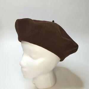 VTG 80s Brown 100% Wool Beret OSFA PRT Ultrabasque Felt Winter Hat French Cap