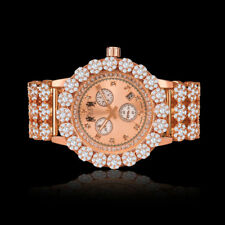 Real Diamond Mens Stainless Steel Rose Gold Custom Flower Watch W/Date Ice House