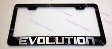 Mitsubishi Lancer EVOLUTION Laser Black Stainless Steel License Plate Frame CAP