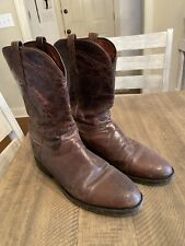 MENS VINTAGE LUCCHESE ROPER BOOTS SIZE 10.5 D MAD DOG GOAT! CHOCOLATE! FREE SHIP