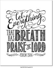 Let Everything That Has Breath Praise Art Print Home Decor Wall Art Poster - I